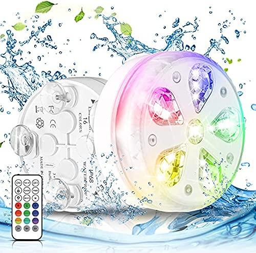 Yorimi Luces de Piscina bajo el Agua, luz LED subacuática con Control Remoto y Ventosa, luz de Buceo Impermeable Luz de Tanque de Peces para Piscina al Aire Libre Interior