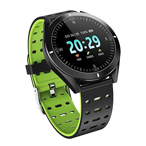 MXRLZX Smart Watch, 1,3 Zoll-Full-Screen-Multi-Sport-Modus Informationen Push-Pedometer Motion Tracking-Sport-Uhr Smart-Erinnerung (Color : Green)
