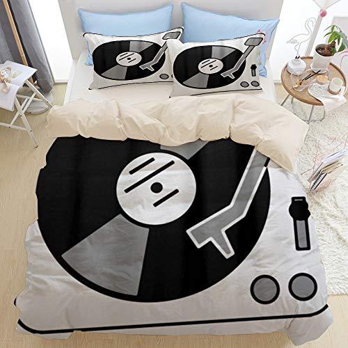 LISNIANY Ropa de Cama,Tocadiscos Música Vinyl Record DJ,Funda nórdica de Microfibra(240 * 260cm,50 * 80cm)