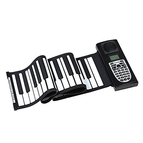 JJCFM Rollo De La Mano del Piano, Teclado Portátil 61 Teclas Roll De Mano Electrónico, Teclado Multifunción Infancia Plegable Grueso De Silicona Suave, Conveniente para Begainners Y Los Niños