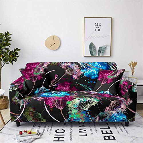 Stretch Sofa Couch Covers Elastic Fabric Blue Red Watercolor Pattern Universal Fitted Armchair Loveseat Settee Slipcover Durable Furniture Protector From Dogs/Pets/Kids,2,Seat 145,185cm