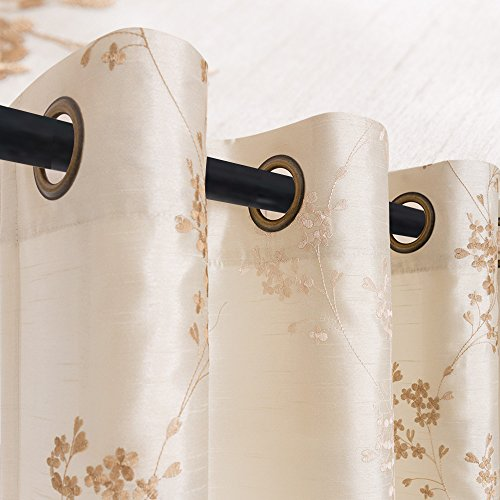 jinchan Faux Silk Floral Embroidered Grommet Top Curtains for Bedroom 63 inches Long Embroidery Curtain for Living Room, 2 Panels, Ivory