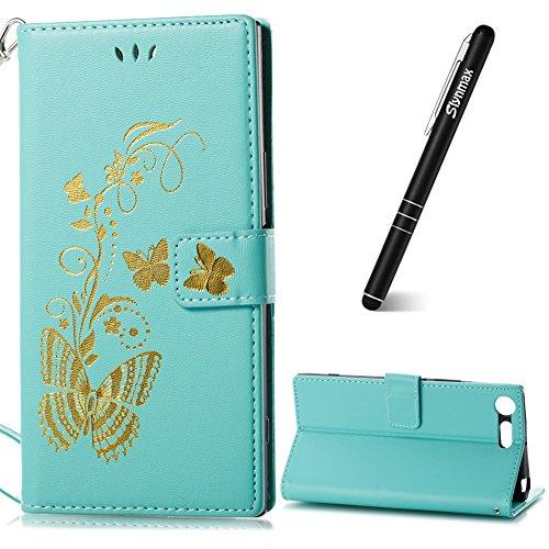 Sony Xperia XZ Premium Handyhülle,Slynmax Handyhülle Leder Wallet Tasche Flip Schutzhülle Blumen Schmetterling Silikon Case Ledertasche Brieftasche Slim Grün Filp Case für Sony Xperia XZ Premium