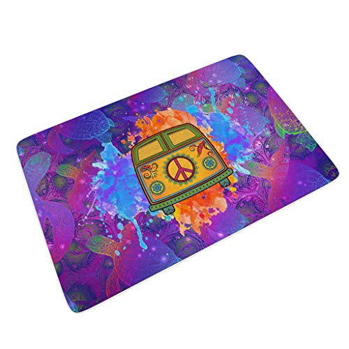 Peace Car Turtle Novelty Boots Scraper Mats Waterproof Non-Slip Washable Make Your House Stylish and Chic with Non-Slip Rubber for Entry Way/Patio/FrontDoor/All Weather Exterior white 16x24 inch