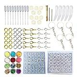Docona Moldes de resina, 87 piezas de moldes de resina epoxi, kit de silicona y herramientas para llaveros, moldes de resina para colgar moldes de decoración para manualidades