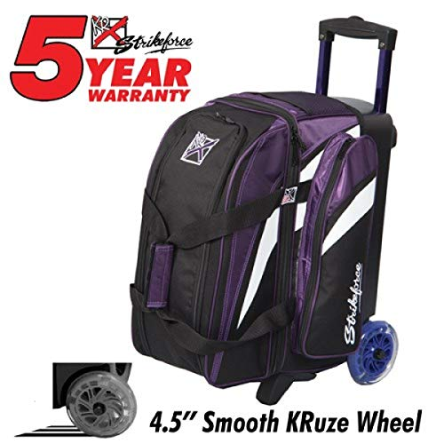 KR Strikeforce, Cruiser Smooth - Double Roller - Lila/Weiß/Schwarz, Bowling-Tasche für Zwei Bowlingbälle, Bowlingschuhe und Zubehör