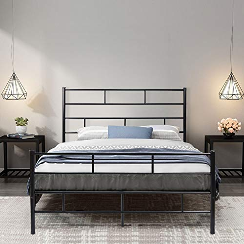 NSdirect Queen Bed Frame, 13 inch with Vintage Headboard and Footboard Platform Foundation Mattress Base Heavy Duty Steel Slat Support Bed No Box Spring Needed(Queen Size,Black)
