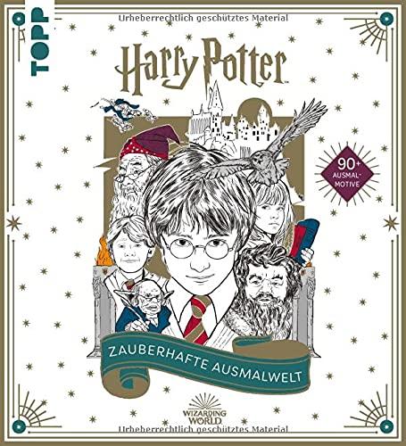 Harry Potter - Zauberhafte Ausmalwelt: Das offizielle Ausmalbuch. Cover mit Gold-Highlights und metallische Effekten im Innenteil