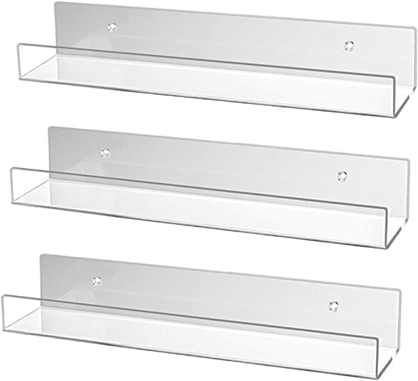 Sanasic Set Of 3 Acrylic Floating Wall Shelves Display Ledges Storage Organizer For Bedroom Bathroom Kitchen Office 16 5 L X 4 D X 3 H