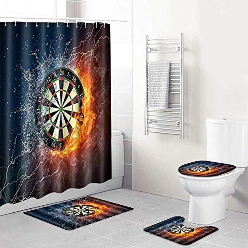 ALLMILL 4-teiliges Brennende Dartscheibe Duschvorhang-Set Badezimmer Anti-Rutsch-WC-Vorleger,Deckel WC-Abdeckung,Badematte,Duschvorhang mit 12 Haken