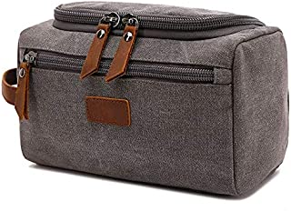 SODIAL Grey Canvas Toiletry Bag for Men Wash Shaving Kit Women Travel Make UP Cosmetic Pouch Bags Case Organizer