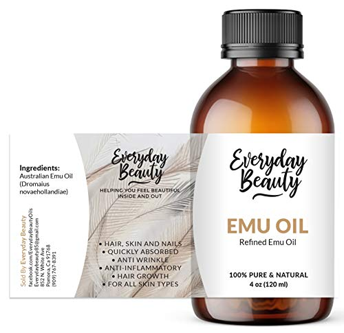 Pure Australian Emu Oil - All Natural 6X Refined for Face, Skin and Hair - Highly Effective Hydration for Sensitive Skin and Hair Growth - Perfect for Scars and Blemishes - Naturally rich and balanced in essential omega 3, 6 and 9 fatty acids - 4oz