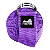 REEHUT Yoga Strap 6ft with Ebook - Durable Polyester Cotton Exercise Straps w/Adjustable D-Ring Buckle for Stretching, General Fitness, Flexibility and Physical Therapy Purple