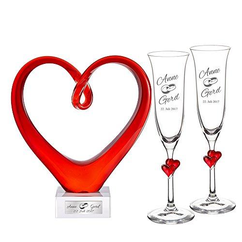 Casa Vivente Sektgläser mit Herzen und Glasherz mit Gravur – Motiv Ringe – Personalisiert mit Namen und Datum – Glaswaren Set
