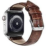 Ewise [Apple Watch バンド] 本革 交換バンド ビジネススタイル コンパチブル 女性にも オシャレ Apple Watch 6 5 4 3 2 1 SE (42mm・44mm, ブラウン)
