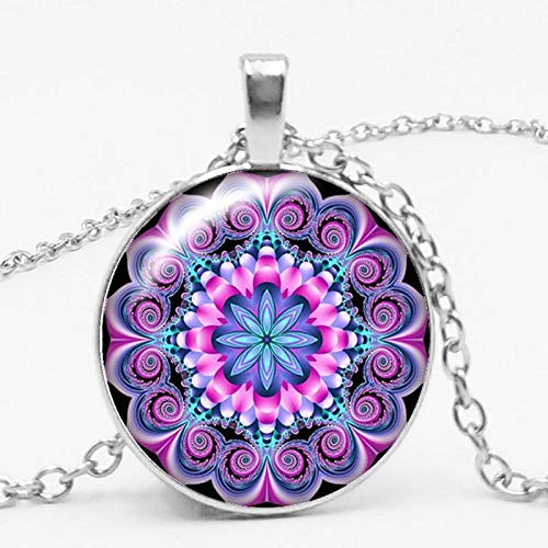 Fashion Charm Color Ethnic Wind Kaleidoscope Buddhist Yoga Mandala Glass Bullet Pendant Necklace Women's Round Pendant 50cm