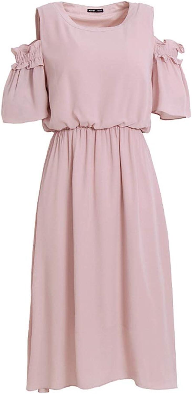 Dress Girl Dress Pink OffShoulder ShortSleeved Summer Woman Dress in A Long Skirt (Size   M)