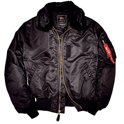 ALPHA INDUSTRIES B15 Jacket,eine warme Bomberjacke mit abnehmbarem Fellimitat am Kragen aus Nylon schwarz gestepptes Futter Originale Pilotenjacke bequem, Größe:M;Farbe:Black