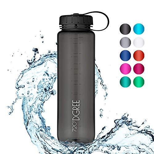 720°DGREE Trinkflasche simplBottle - 1500ml, 1,5L, Schwarz - Wasserflasche aus Tritan, Auslaufsicher & Robust - Flasche mit Weithals für Sport, Gym, Outdoor - Perfekte Sportflasche - BPA Frei
