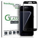 amFilm Protector Pantalla Galaxy S7 Edge, Cobertura Total (3D Curvo) Cristal Vidrio Templado Protector de Pantalla para Samsung Galaxy S7 Edge (Negro)