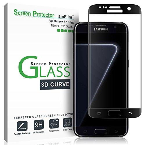 amFilm Verre Trempé Protecteur D'écran pour Galaxy S7 Edge, Couverture Complète (Courbes 3D) Film Protection écran pour Samsung Galaxy S7 Edge (Noir)
