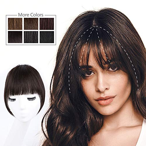 HMD Bangs Hair Clip in Bangs Human Hair Bangs Hairpieces for Women Dark Brown Clip on Fringe Bangs Real Hair Nice Natural Flat Neat Bangs with Temples One Piece Bangs Hairpiece for Party and Daily Wear (Curved Bangs, Dark Brown)
