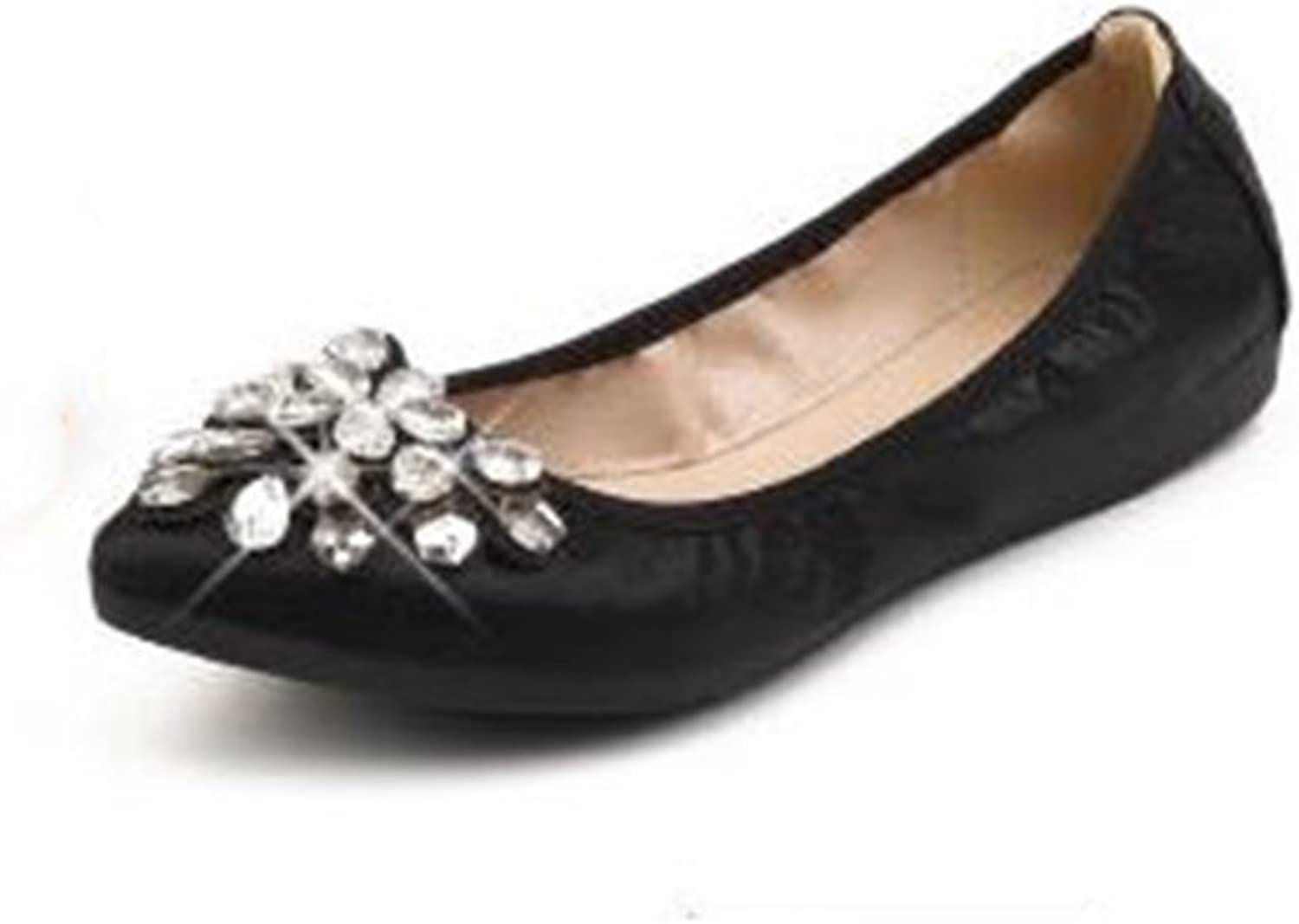 COLOV Womens Foldable Soft Pointed Toe Ballet Flats Rhinestone Comfortable Slip on Flat shoes