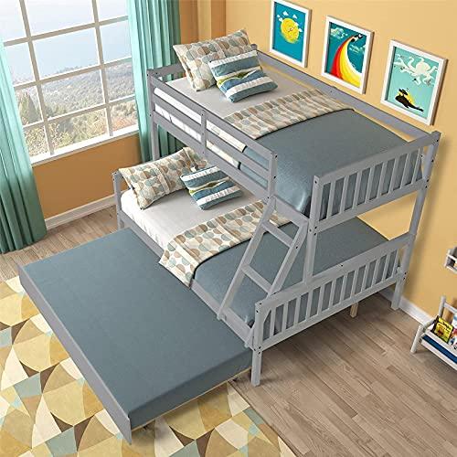 MWKL La más Nueva litera tamaño Doble sobre Completo, litera Doble sobre Completa de Madera Maciza con escaleras y Nido, diseño Que Ahorra Espacio, literas gemelas sobre literas Completas