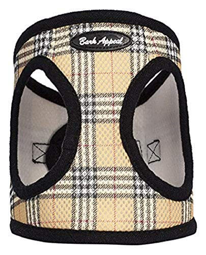 Bark Appeal Plaid Comfort Padded Pet Vest Mesh EZ Wrap Puppy Harness, Small, Tan