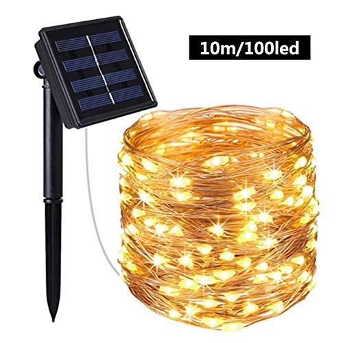 LED Lichtschlauch LED Schlauch Lichterkette Außen Outdoor Solar Lichterketten Wasserdicht 10M 100 LED Kupferdraht Lichterkette Ideal Für Aussen, Weihnachtsbeleuchtung, Deko, Party, Feier, Hochzeit
