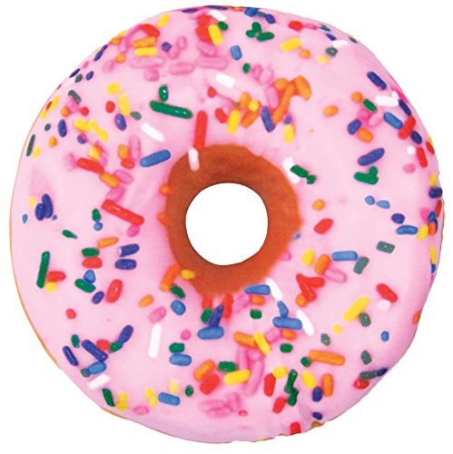 iscream Sugar-riffic Donut Shaped Bi-Color 16' Photoreal Print Microbead Pillow, Pink Front/Chocolate Back, 16'Wx16'H