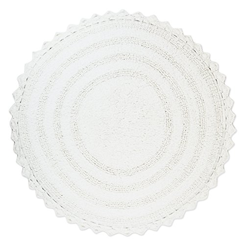 DII Ultra Soft Spa Cotton Crochet Round Bath Mat or Rug Place in Front of Shower, Vanity, Bath Tub, Sink, and Toilet, 28' - White