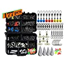Ilure Fishing Accessories Tackle Box Kit with Hooks Weights Jig Heads Swivel Slides Ball Bearing Rolling Snap Barrel for Bass Freshwater and Saltwater