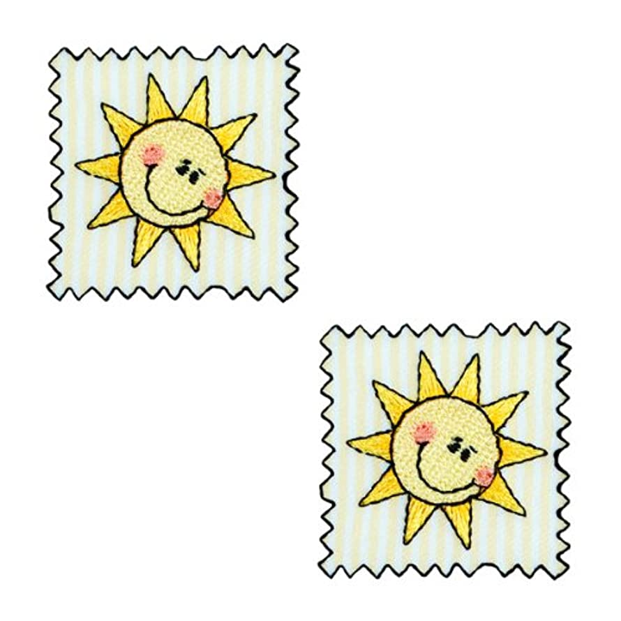 Expo Iron-on Embroidered Applique Patches, BaZooples Sun Patch, 2-Pack
