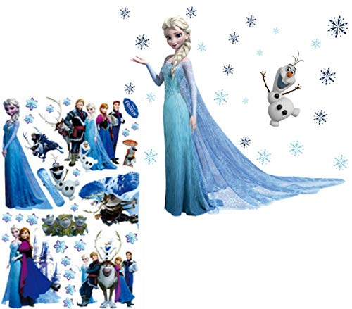 Kibi 2 PCS Wandaufkleber Babyzimmer Eiskönigin (Frozen) Wandsticker Frozen Disney für Kinderzimmer Living Room Removable Prinzessin Elsa Wandtattoo Kinderzimmer Frozen Olaf