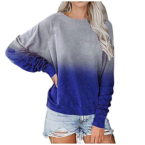 NAQUSHA Damen Basic Pullover Herbst Winter Freizeit O-Neck Kontrast Farbverlauf Langarm Top Pullover Sweatshir T-Shirt Tops Bluse Oberteile(Blau,Small)