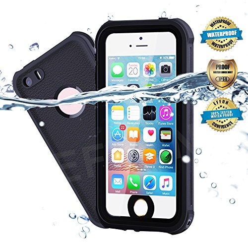 EFFUN Waterproof iPhone 5/5S/SE Case, IP68 Certified Waterproof Dustproof Snowproof Shockproof Case Fully Sealed Underwater Cover with Built-in Screen Protector for iPhone 5/5S/SE Black