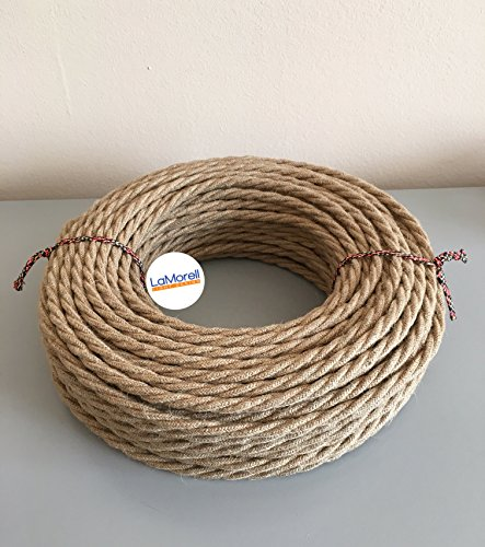 Textilkabel für Lampe, Stoffkabel 3-adrig (3x0,75mm²) - Jute. Made in Italy (5 Meter)