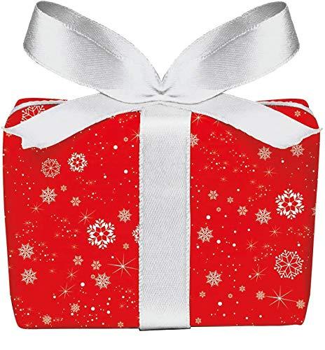 3er-Set Weihnachts Geschenkpapier Bögen SCHNEEFLOCKEN in ROT zu Weihnachten & Adventszeit • Weihnachtspapier für Weihnachtsgeschenke, Adventskalender u.v.m. (Format : 50 x 70 cm)