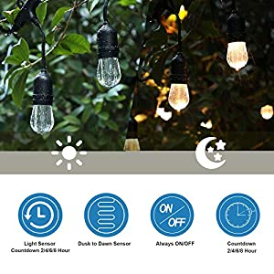DEWENWILS Outdoor Power Stake Timer with Photocell Light Sensor and Wireless Remote Control, 6 Waterproof Grounded Outlets with Protective Cover, 6ft Extension Cord, UL Listed, Green