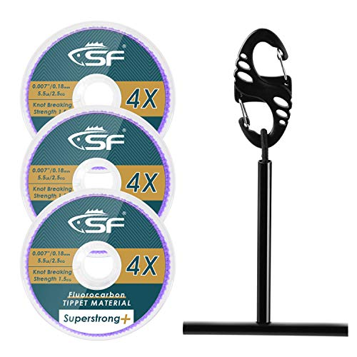 SF Clear Fluorocarbon Fly Fishing Tippet Line with Holder Leaders and Tippets-3 PCS 0,1,2X