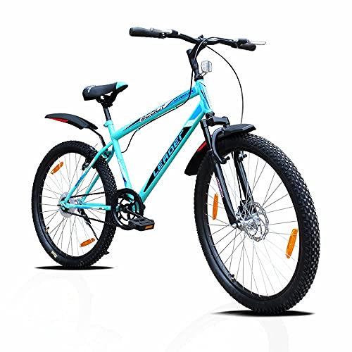 Leader Scout MTB 26T Mountain Bicycle/Bike Without Gear Single Speed with Front Suspension and Front Disc Brake for Men - Sea Green/Black Ideal for 10+ Years……