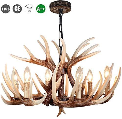 ZXM Pendelleuchte LED Esstisch Pendellampe Resin Und Kerze Lampenschirm Hängeleuchte E14×6 Leuchte Deckenlampe, Glückliches Geweih Hängelampe Retro Deckenleuchte Höhenverstellbar
