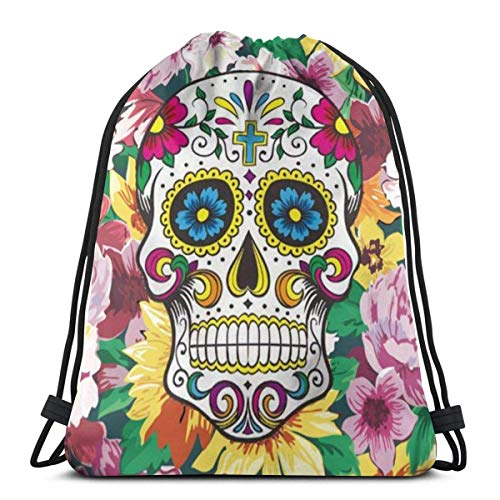 Drawstring Backpack Bags Sugar Skull Colorful Floral Womens Lightweight Gym String Storage Sackpack