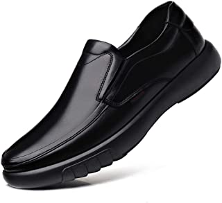 VHBSDINE Men's Leather Shoes Head Leather Soft Anti-Slip Rubber Shoes