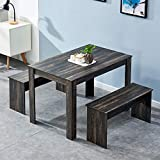 Small Dining Table with 2 Benches, 3-Piece Wood Rectangular Kitchen Table Set, Dinette Set for 2-4 Persons, Dark Grey