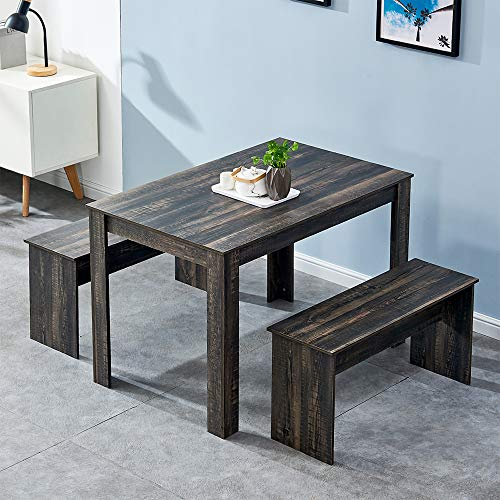 HomeSailing Wooden Dining Table and 2 Benches Set Dark Grey 3 Pieces Kitchen Dining Room Furniture Seats for 4 People Small Space Dinette Set Taupe