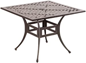 Alfresco Home Weave Cast Aluminum Square Dining Table, 40-Inch