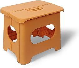 Składany mały stołek, przenośny lekki stołek składany, odpowiedni do domu i na zewnątrz,Orange,Large