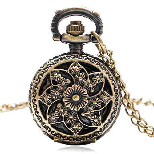 ZHAOXIANGXIANG Reloj De Bolsillo Retro,Molino De Viento De Bronce Vintage Hermosas Flores Movimiento De Cuarzo Reloj De Bolsillo Colgante Collar Pulsera Reloj De Bolsillo Regalos